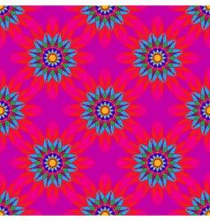 Fractal mandala seamless pattern on pink leaves vector