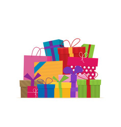 gifts with bows and ribbons stack of colorful vector image