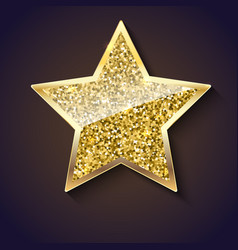 Golden star with glitter and reflex vector
