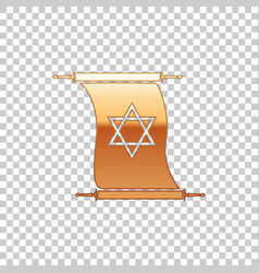 Golden torah scroll on transparent background vector