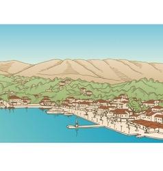 Greek village vector