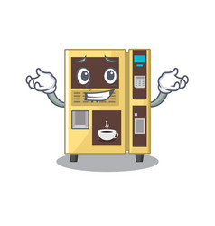 Grinning coffee vending machine with cartoon shape vector