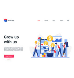 grow up with us concept landing page business vector image