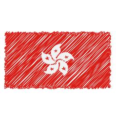 hand drawn national flag of hong kong isolated on vector image