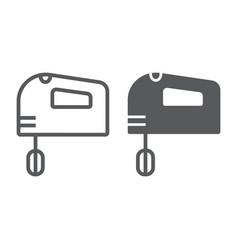 hand mixer line and glyph icon electric and vector image