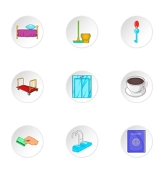 Hostel icons set cartoon style vector