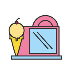 Ice cream store facade isolated icon vector