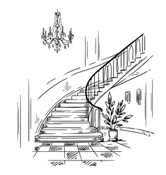 Interior design spacious hall and staircase vector
