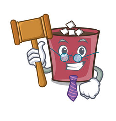 Judge hot chocolate mascot cartoon vector