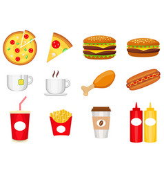 junk food colorful logo collection isolated on vector image