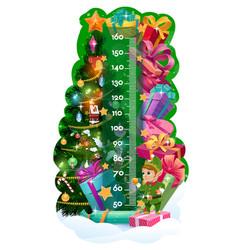 Kids height chart christmas tree gifts cute elf vector