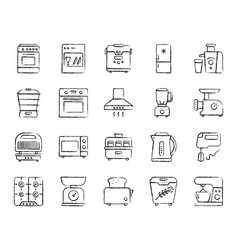 Kitchen appliance charcoal line icons set vector