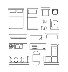 large set home furniture simple black outline vector image