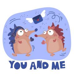 Loving hedgehog valentine day cartoon animal set vector