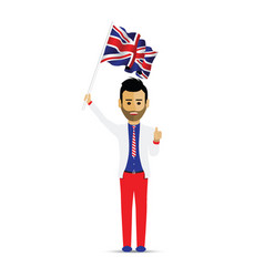 man waving the uk flag vector image
