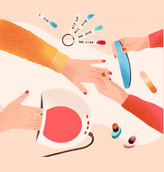 Manicure and nail care process professional vector