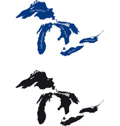 map of the great lakes silhouette vector image