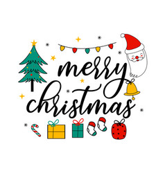 merry christmas slogan and cute elements vector image