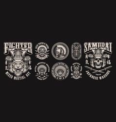 Monochrome with skulls warriors vector
