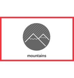 Mountain peaks contour outline vector