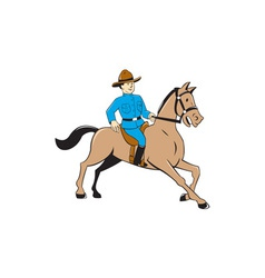 Mounted Police Officer Riding Horse Cartoon vector image