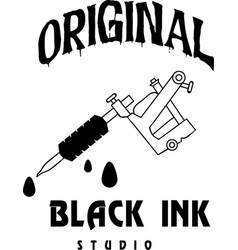 original black ink tattoo machine design backgroun vector image