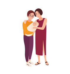 Pair of cute homosexual women standing together vector