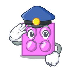 Police toy brick character cartoon vector