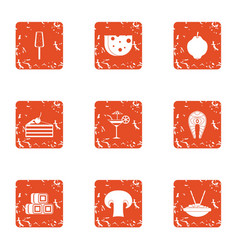 Pricey snack icons set grunge style vector