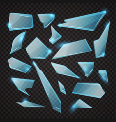 realistic transparent shards broken glass blue vector image