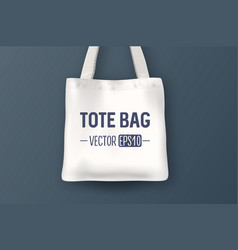 realistic white empty textile tote bag vector image