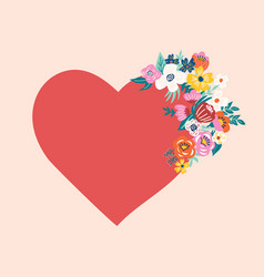 red heart with blooming flowers vector image