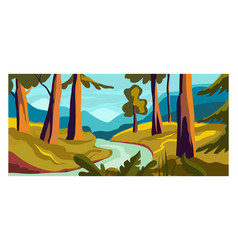 Rural view river landscape concept woodland vector
