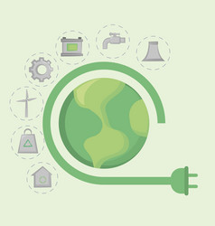 save the world and clean energy concept design vector image
