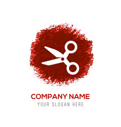 scissors icon - red watercolor circle splash vector image