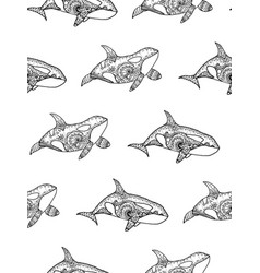 Seamless pattern from orca vector