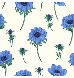 seamless pattern with anemones flowers vector image
