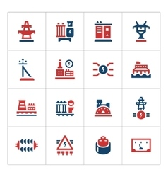 Set color icons of power industry vector