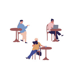 set different people sitting at street cafe vector image