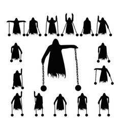 Set flying ghost clad in chain silhouette vector