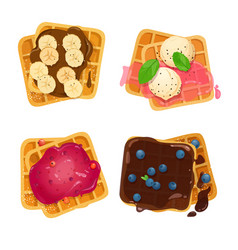 Set of belgian waffles with various toppings vector