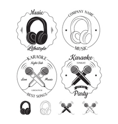 Set of music and karaoke logos labels badges vector image