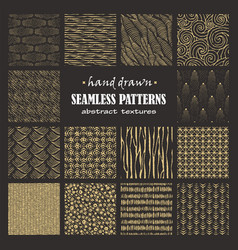 Set of seamless hand drawn marker and ink patterns vector