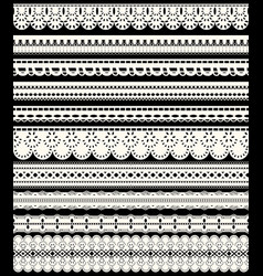 Set of seamless lace borders ten white openwork vector