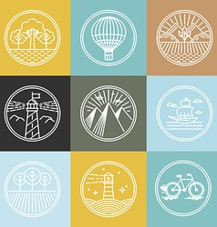 Set of travel badges in trendy linear style vector