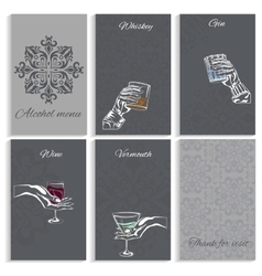 Set pages alcohol menu man woman hand holding vector image