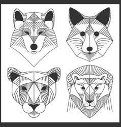 Set polygonal animals polygonal logos vector