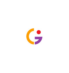 shape round colored g initial logo vector image