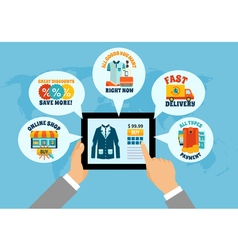 Shopping On Tablet Online Composition vector