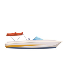 speed boat yacht on seascape background cartoon vector image